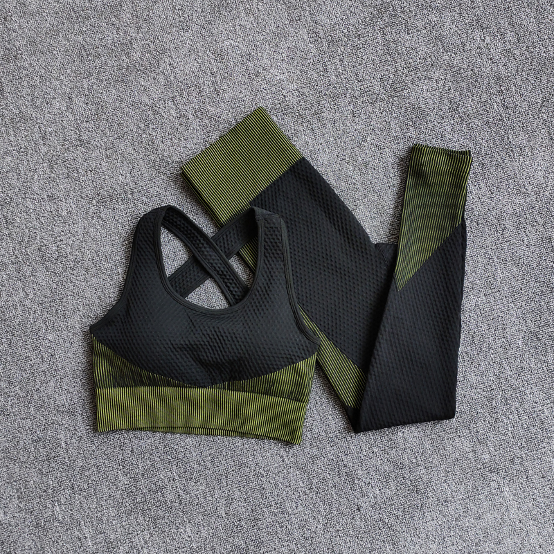 BraPantsGreen - Women Seamless Fitness Yoga Suit Color-blocked Sportwear