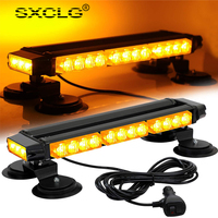 SXCLG 16.8 Inch LED Strobe Flashing Light Bar High Intensity Emergency Hazard Warning Beacon Lights with Magnetic Base for Car