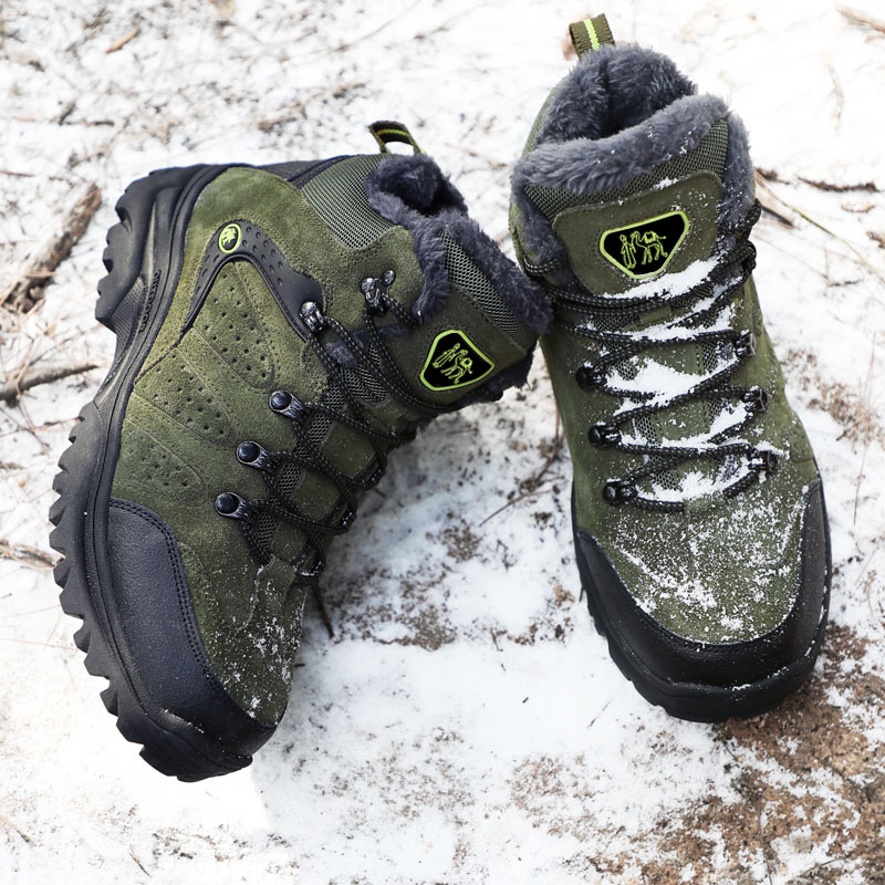 Men Shoes Winter Snow Boots Warm Super Men High Quality Waterproof Leather Sneakers Brand Outdoor Male Hiking Boots Work 36-47 image