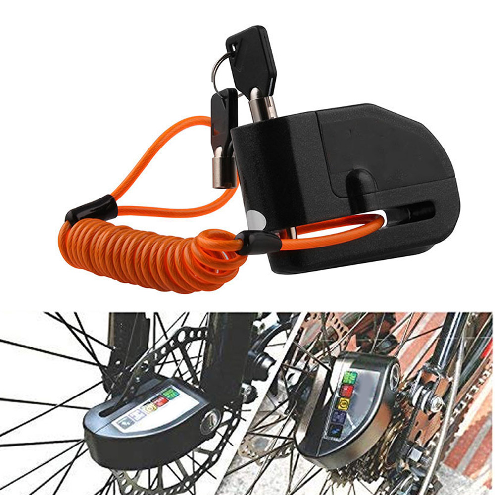 For Car Motorcycle Bicycle Lock Alarm Scooter Bike Disc Brake Anti-Theft Security In Black In 14*20*6CM