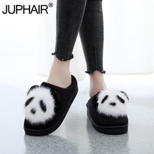 Girls Cute Cartoon Animation Lucky Panda Womens Slippers Ladies Non-Slip Slip On Warm Plush Slippers Indoor Home Slippers Shoes dcos black and white panda eyes crying face cotton slippers men s panda plush winter non slip warm house indoor slippers