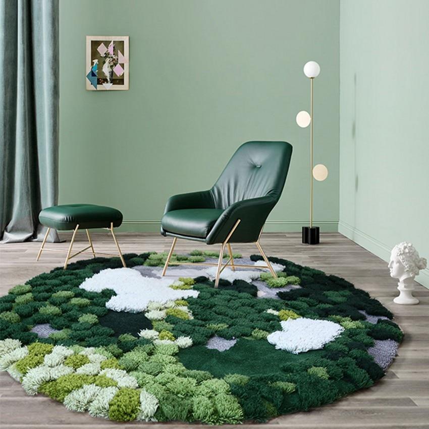 Nordic Green Series 3D Pattern Handmade Wool Blending Rug, Pastoral Style Round Shaped Decoration  Carpet