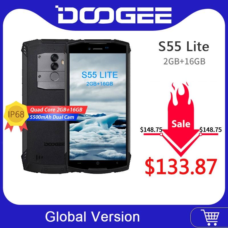 DOOGEE S55 Lite IP68 Waterproof Smartphone 2GB RAM 16GB ROM 5500mAh 13.0MP MTK6739 Dual SIM Dual 4G VoLTE 5.5inch Android 8.1