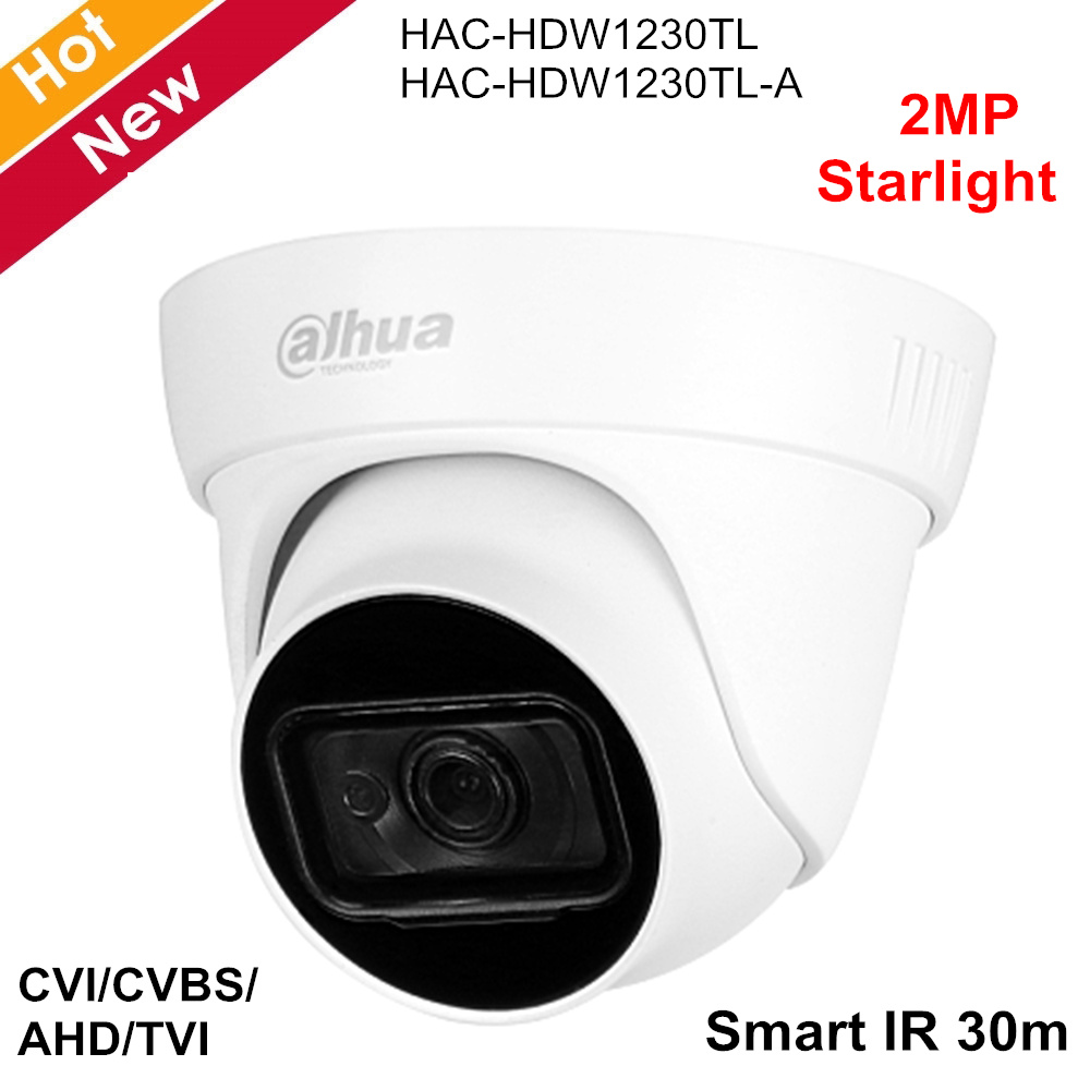 Dahua 2MP Starlight HDCVI Camera CVI CVBS AHD TVI Switchable 2.8mm 3.6mm Optional 1 IR LED Built-in Mic (-A)  For CCTV Systems