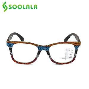 Image 3 - SOOLALA Multifocus Progressive Anti Blue Light Reading Glasses Women Men Near Far Sight Woodgrain Hyperopia Reading Glasses