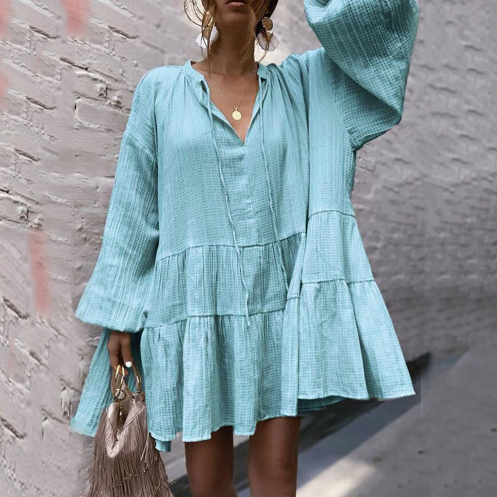 Long-term hot Product Women V Neck Green Long Sleeve Party Dress Evening Casual Summer Mini Dress Solid color Elastic waist dres