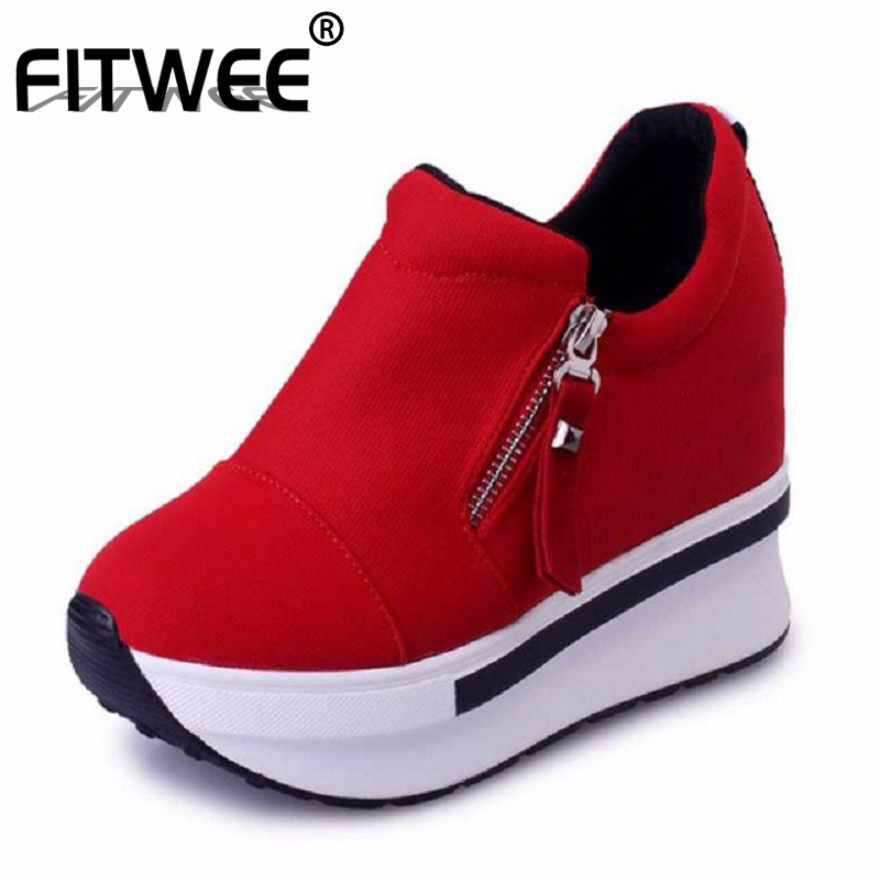 FITWEE Women Shoes Zip White Sneakers Casual Sweet Spring Autumn Fashion Platform Shallow Women Shoes Footwear Size 35-40