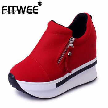 FITWEE Women Shoes Zip White Sneakers Casual Sweet Spring Autumn Fashion Platform Shallow Women Shoes Footwear Size 35-40 - DISCOUNT ITEM  49% OFF All Category