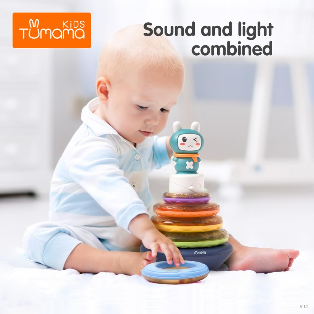 Circle Stacking Rings Toy Baby Rainbow Tower Music toys For baby Children Tumblers for 1 2 3 Year Old kids Girls Boys