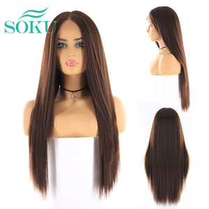 Image 2 - Synthetic Lace Front Wigs Long Yaki Straight Middle Part Lace Wig SOKU Glueless Heat Resistant Fiber Lace Wigs For Black Women
