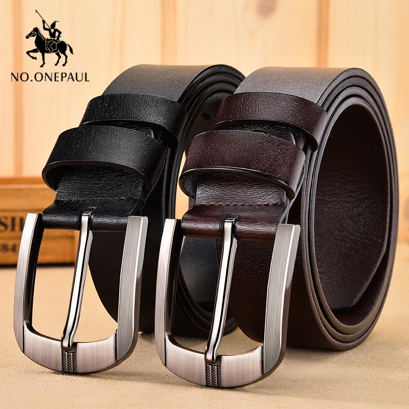 NO.ONEPAUL men belt cow genuine leather luxury fashion new male belts for men Vintage pin buckle waist belts High Quality title=