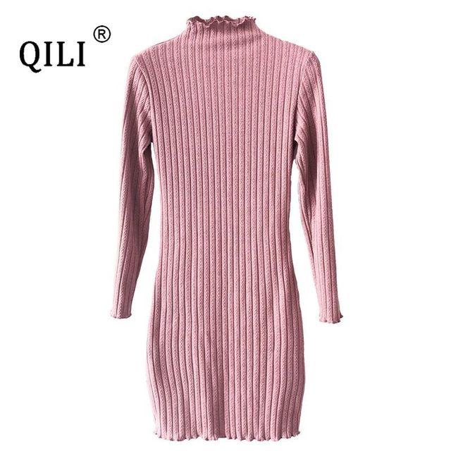 женское трикотажное платье qili короткое облегающее с запахом фотография