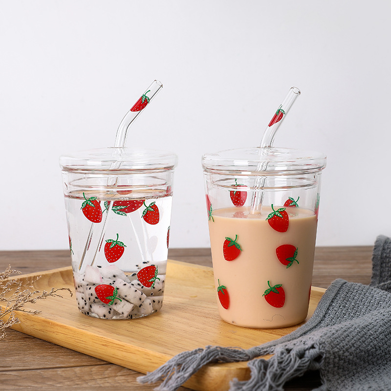 Kawaii Sweet Strawberry Cup With Straw 2