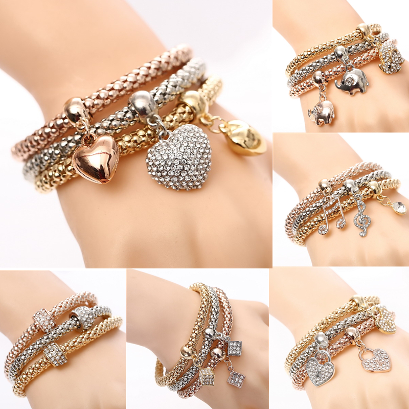 3Pcs/Set Owl Crystal Heart Bracelet & Bracelet Gold/Silverized Elephant Anchor Pendant Female Rhinestone Bracelet gift(China)