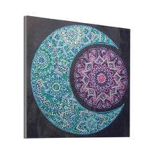 Pintura em forma de diamante diamante redondo, 5d, sol, lua, mandala, água, bolinhas, peça, diamante, bordado, pintura decorativa