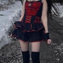 Gothic Summer Grunge Emo Y2K Short Skirt Egirl Goth Dark Harajuku Sexy Color Contrast Bandage Zip Woman Mini Skirt Alt Clothes