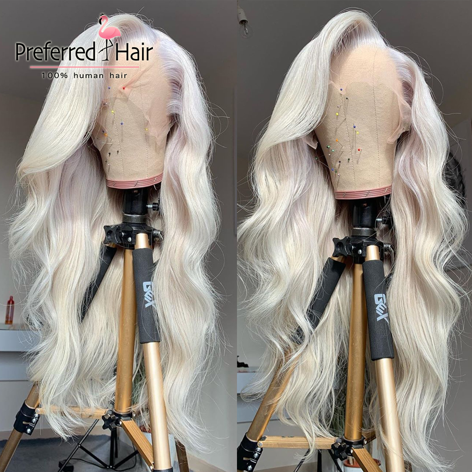 Preferred Platinum Blonde Lace Front Human Hair Wigs Brazilian Remy Copper Red Loose Wave Wig Pre Plucked Transparent Lace Wigs