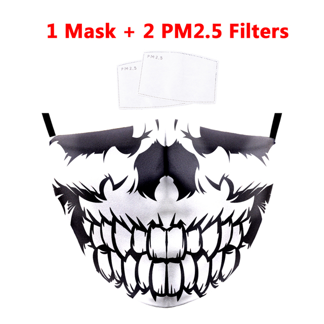 Halloween Cosplay Ghost Skeleton Printing Masks Reusable Mask Washable Fabric Face Masks PM2.5 Filter Mouth Cover Proof Flu Mask