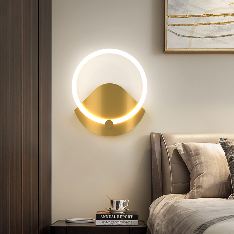 Gold Color Modern Brief Bedroom Study Wall Lights Simple Bedside Lamp Creative Living Room Wall Lamps Sconce Fixtures 90-260V