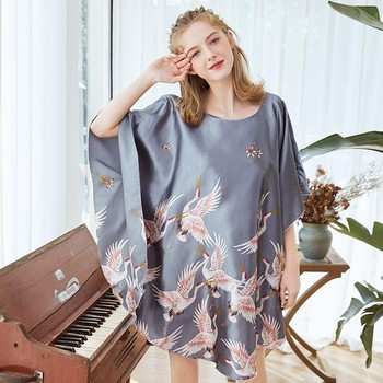2020 Summer Sexy Lady Satin Nightwear Nightgown Women Print Bath Gown Nightdress Loose Sleepwear Novelty Print Night Dress цена 2017