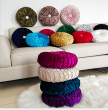 Velvet Pleated Round Pumpkin Throw Pillow for Couch Floor| Cushion Pillow Decorative for Home Sofa Chair Bed Car