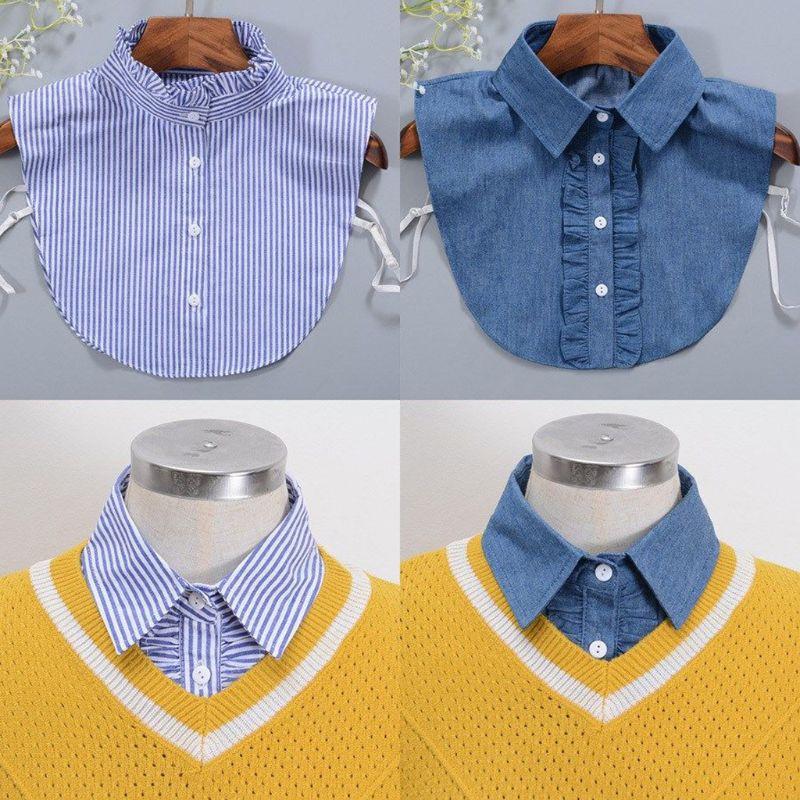 Minimalist Stripes Denim Women Detachable Lapel Fake Collar Cute Doll Ruffles Lace Splicing Button Down False Half Shirt Blouse