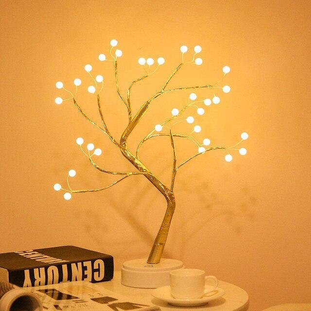 Veilleuses Rgb Led chaîne lumières lumières de la pièce décor Mini arbre lampe chaîne lumières pour chambre à coucher scintillent lumières salle décor lumières