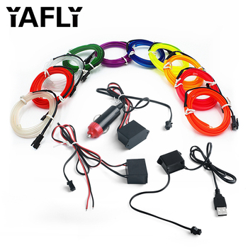 YAFLY 1m/2m/3m/5m Neon LED Car Interior Lighting Strips Auto LED Strip Garland EL Wire Rope Car Decoration lamp Flexible Tube image