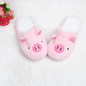 Female Shoes Chaussures Stripe Slippers Pig Pantoffels Dames Femme Winter Floor Soft