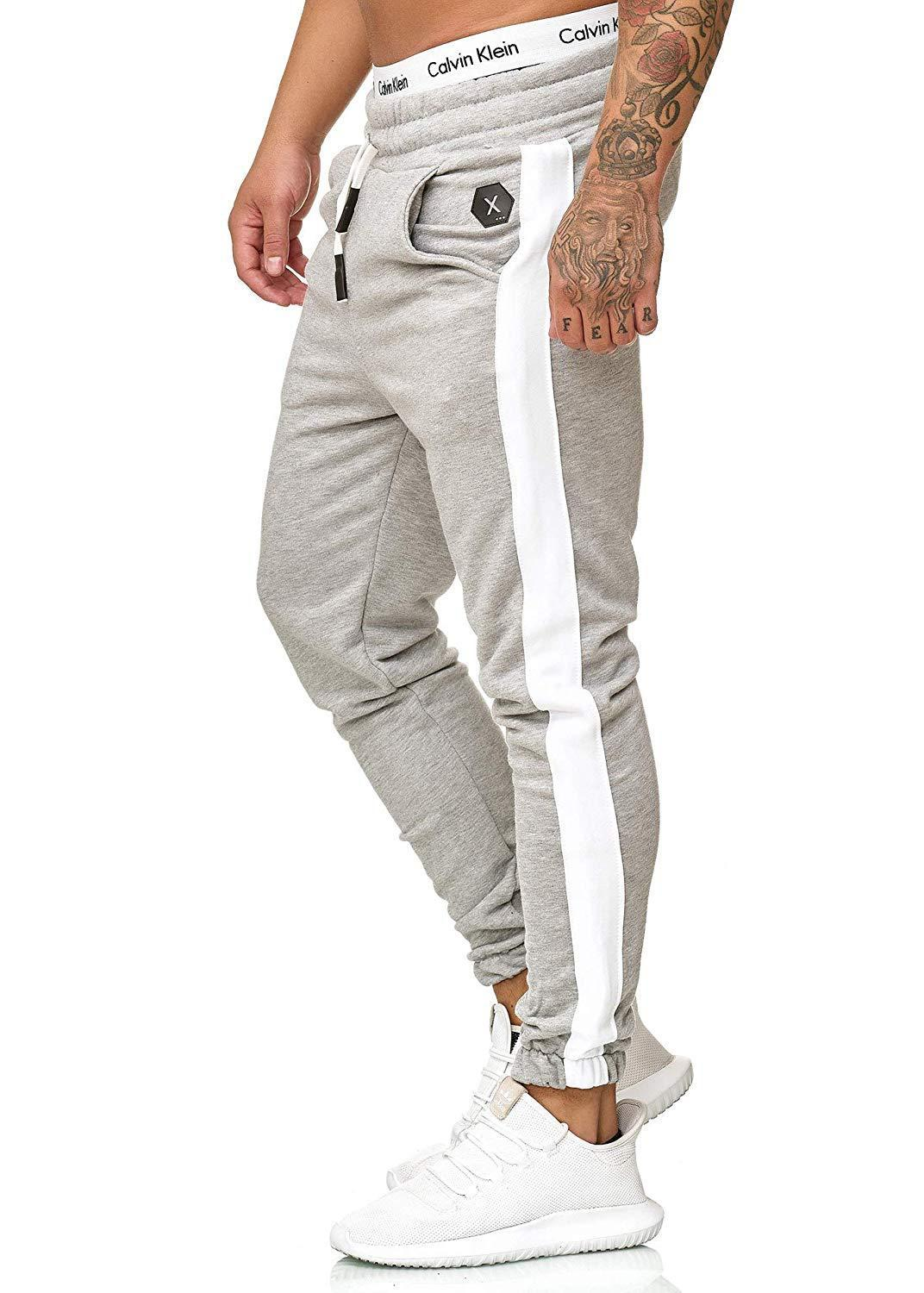 Personality Men's Striped Solid Color Jogger Pants Mens Casual Loose-Fit Sports Beam Leg Breathable Jogger Pants fianl clear out