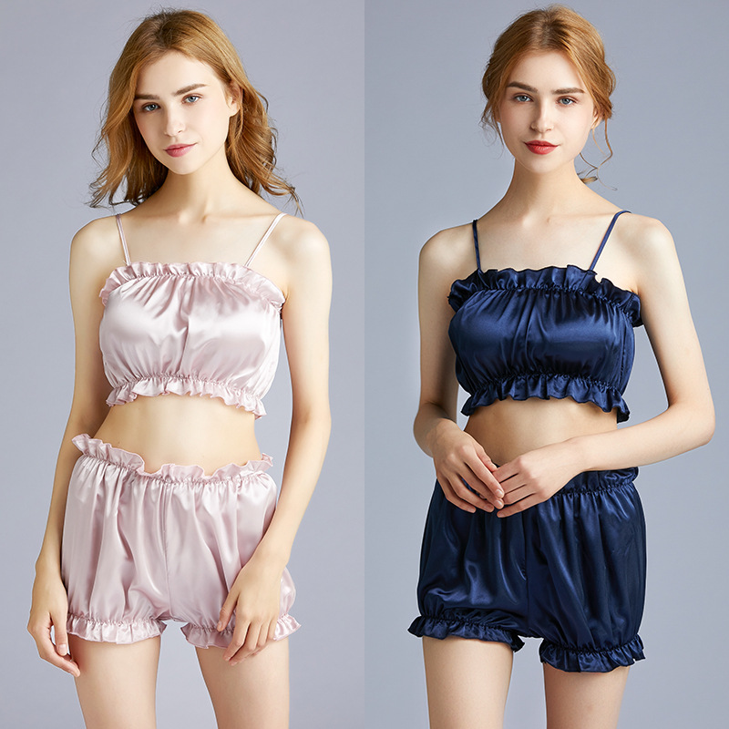 Yao Ting Version Silk Sexy Pajamas Women's Summer Wrap-around Shorts Two-Piece Set Tracksuit Thin 1007