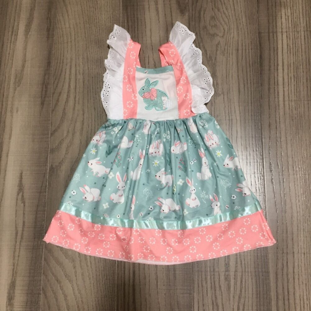 Baby Girls Easter Dress Girls Spring Dress With Bunny Print Girls Pink Dress With Lace