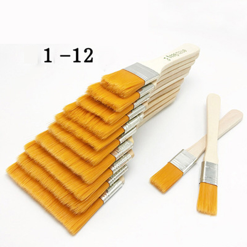 12 Pcs/set Painting Brush Tips Flat Artist Paint Acrylic Art Drawing Accessory