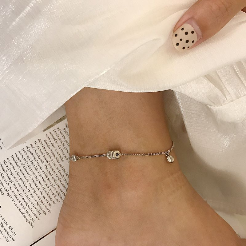 Silvology 925 Sterling Silver Three Round Bead Zircon Anklets Lucky Bead Design Elegant Anklets for Women New Foot Jewelry Girls