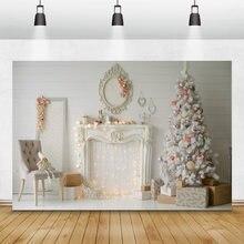 Рождественские фоны laeacco белая деревянная доска камин Рождественская