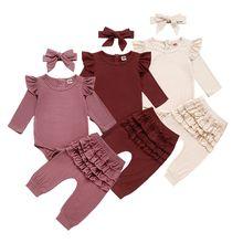 新生児ガール服秋幼児ベビー服衣装ニットスーツトップロンパースフリルパンツカチューシャ 3 個服セット