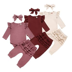 Image 1 - Newborn Baby Girl Clothes Autumn Infant Baby Clothes Outfits Knitted Bodysuit Top Romper Ruffle Pants Headband 3pcs Clothing Set