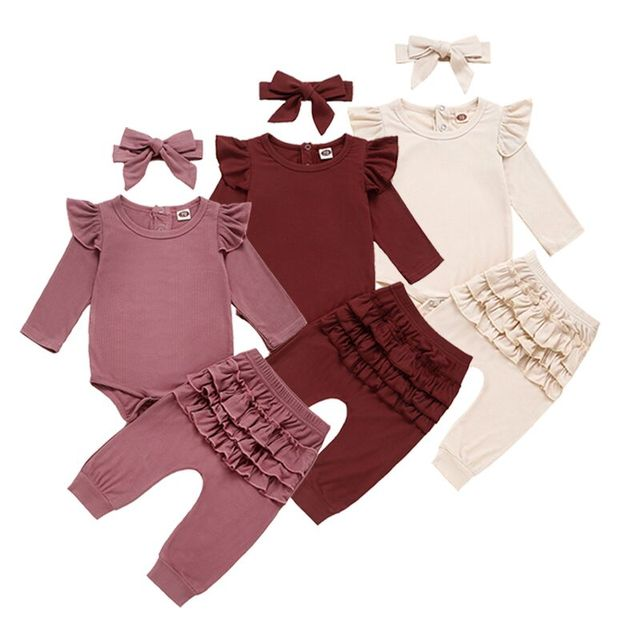 Newborn Baby Girl Clothes Autumn Infant Baby Clothes Outfits Knitted Bodysuit Top Romper Ruffle Pants Headband 3pcs Clothing Set