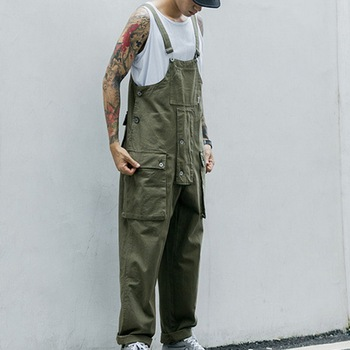Vintage Multi Pocket Overalls Casual Men Jumpsuit Streetwear Loose Pieces Caro Pant Strap Pantalon Hombre Suits Summer 2020 image