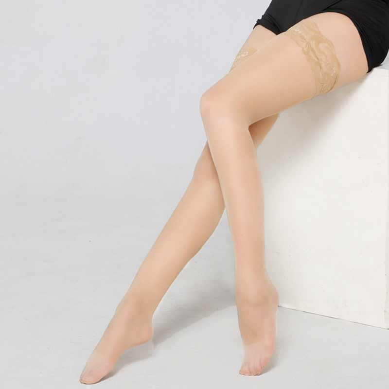 CALOFE ใหม่ 1 คู่ถุงน่องเซ็กซี่ SHEER Lace ต้นขาสูงถุงน่องผู้หญิงถุงน่องยาวสีดำสีขาวสีแดง