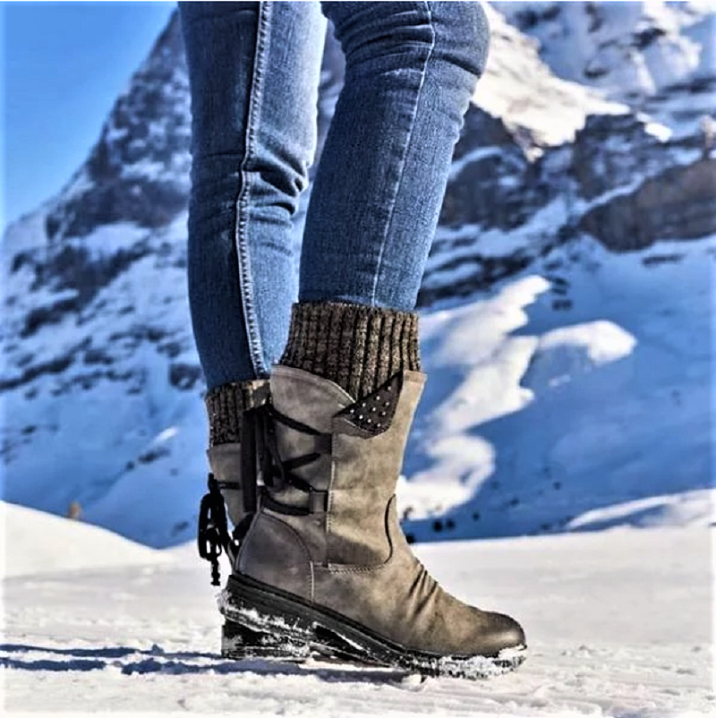 Lowest Price with Best Quality and Free Gift - Women Boots winter autumn girls Flat Heel Boot Fashion Knitting Patchwork shoes 4