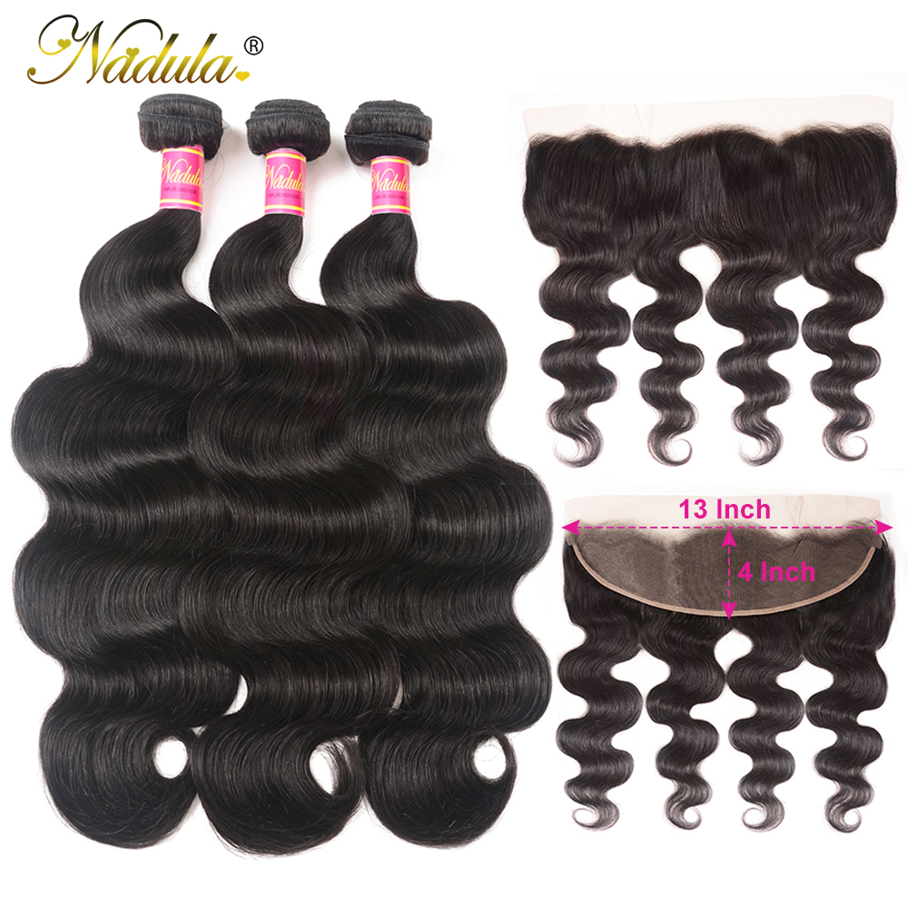 Nadula Hair  Body Wave Hair With 13x4 Lace Frontal Closure 3 Bundles With Frontal 100%  s  Hair 2