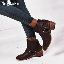 купить Women Boots Vintage Leather High Heels Shoes Bota Feminina Woman Autumn Short Boot Winter Buckle Daily Ankle Boots Zapatos Mujer дешево