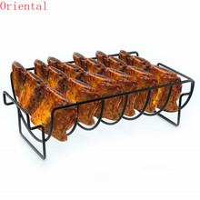 Non-Stick Rib Shelf BBQ 2020 Stand Barbecue  Roast Rack Stainless Steel Grilling BBQ Chicken Beef Ribs Rack Grilling Baske