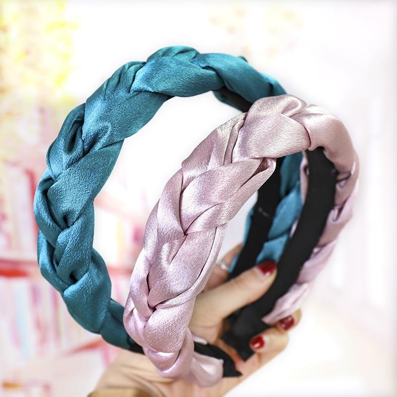 Fashion Braid Satin Headband For Women Solid Color Fabric Hairband Winter Hair Hoop Bezel Europe Hair Accessories