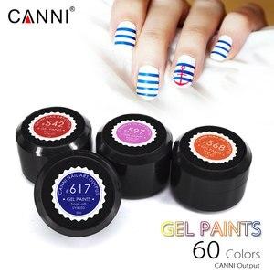 Image 3 - CANNI Gel de peinture pour ongles, 60 pièces/lot, Gel de laque, plastique, pot de 5ml, 60 pièces/lot, peinture UV LED Nail Art, séchage rapide, Pure à paillettes