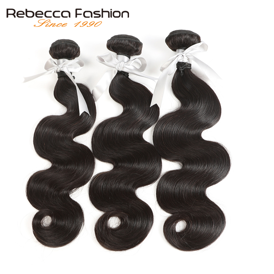 Rebecca Brazilian Hair Weave Bundles 100% Remy Human Hair Extensions 1/3/4 Pcs Double Weft 8 To 30 Inch Body Wave Bundles