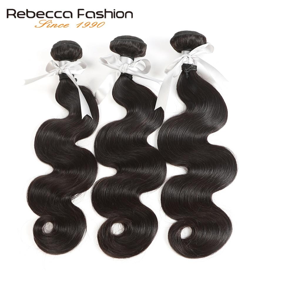 Rebecca cabelo brasileiro tecer pacotes 100% remy extensões do cabelo humano 1/3/4 pçs dupla trama 8 a 30 Polegada pacotes de onda do corpo