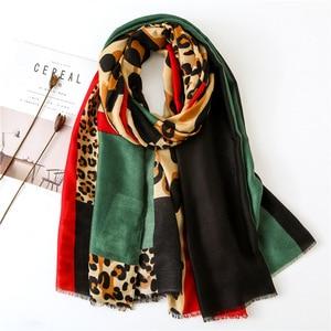 Image 1 - Женский шарф из пашмины с леопардовым принтом, дизайнерские хлопковые шарфы, шали и накидки, шифоновый хиджаб, бандана, 2019