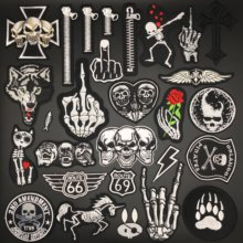 Skull Punk Patches for Clothing Embroidery Stripe Badges Sewing Diy Decoration Clothes Stickers Ironing Patches Appliques